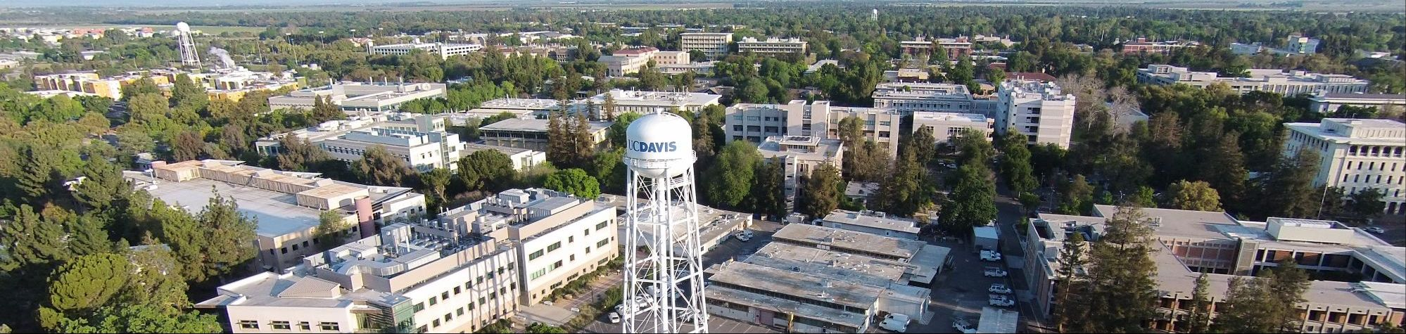 Aerial view of UC Davis watertower, with Math building at rear