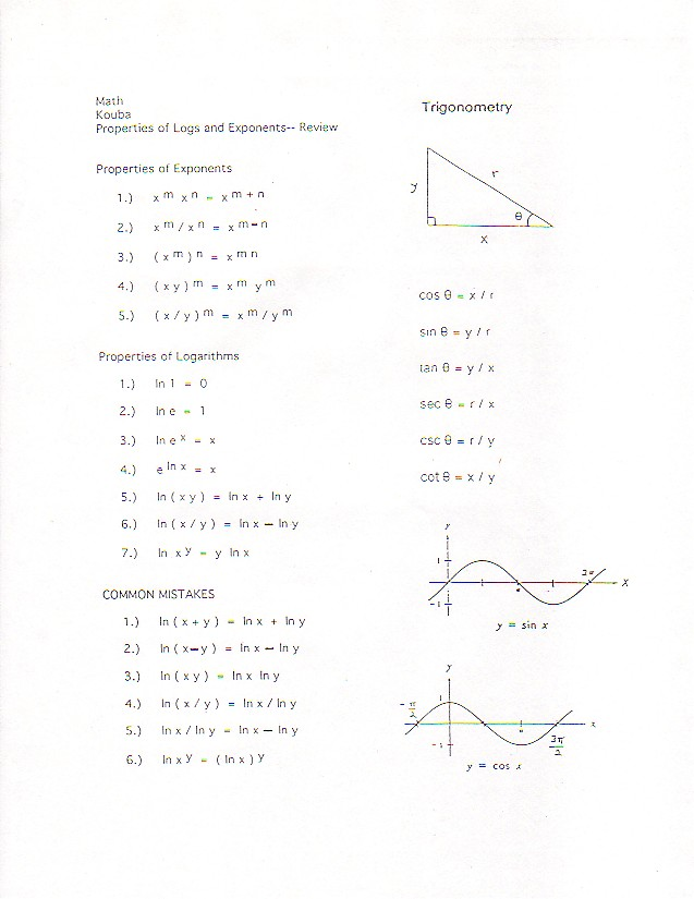Math 21A Discussion Sheets, Worksheets, Supplementary Class Handouts, Math Formulas, and ...