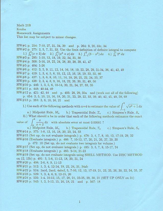 Math 21B Syllabus and Supplementary Class Handouts